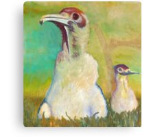 Realistic painted sweet little birds Canvas Print