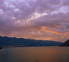 Lake Wakatipu, Queenstown, New Zealand at Sunset by Catherine Sherman