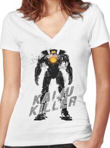 Kaiju Killer Darkness Women's Fitted V-Neck T-Shirt