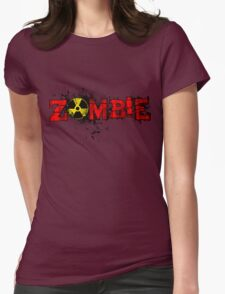 Zombie Banner Red Womens Fitted T-Shirt