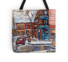 Rue Fairmount And Clark Wilensky Winter Scene Montreal Memories Painting Authentic Original Montreal Paintings Tote Bag