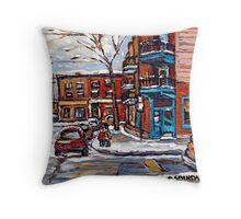 Rue Fairmount And Clark Wilensky Winter Scene Montreal Memories Painting Authentic Original Montreal Paintings Throw Pillow