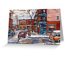 Rue Fairmount And Clark Wilensky Winter Scene Montreal Memories Painting Authentic Original Montreal Paintings Greeting Card