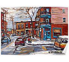 Rue Fairmount And Clark Wilensky Winter Scene Montreal Memories Painting Authentic Original Montreal Paintings Poster