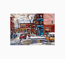 Rue Fairmount And Clark Wilensky Winter Scene Montreal Memories Painting Authentic Original Montreal Paintings Unisex T-Shirt
