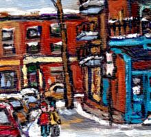 Rue Fairmount And Clark Wilensky Winter Scene Montreal Memories Painting Authentic Original Montreal Paintings Sticker