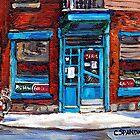 Montreal Memories Wilensky's Diner Doorway Best Original Canadian Paintings For Sale  by Carole  Spandau