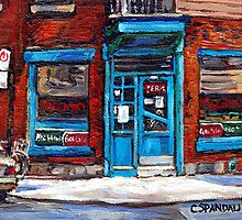 Montreal Memories Wilensky's Diner Doorway Best Original Canadian Paintings For Sale  by Carole  Spandau