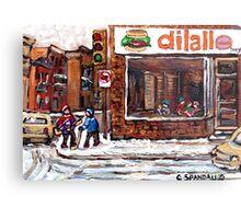 Dilallo Burger Hockey Scenes Rue Notre Dame Montreal Winter Street  Canadian Paintings Metal Print