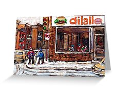Dilallo Burger Hockey Scenes Rue Notre Dame Montreal Winter Street  Canadian Paintings Greeting Card