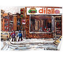 Dilallo Burger Hockey Scenes Rue Notre Dame Montreal Winter Street  Canadian Paintings Poster