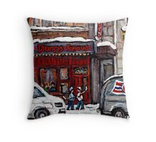 Dunn's Famous Deli Montreal Winter Street Scene Paintings Hockey Scenes Rue Metcalfe Montreal  Throw Pillow