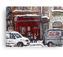 Dunn's Famous Deli Montreal Winter Street Scene Paintings Hockey Scenes Rue Metcalfe Montreal  Metal Print