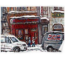Dunn's Famous Deli Montreal Winter Street Scene Paintings Hockey Scenes Rue Metcalfe Montreal  Poster
