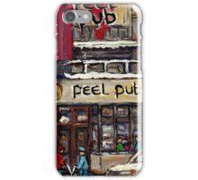 Peel Pub And Cafe Republique Rue Peel Montreal Winter Street Scene Paintings  iPhone Case/Skin