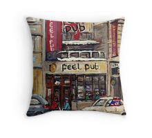 Peel Pub And Cafe Republique Rue Peel Montreal Winter Street Scene Paintings  Throw Pillow