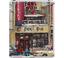 Peel Pub And Cafe Republique Rue Peel Montreal Winter Street Scene Paintings  iPad Case/Skin