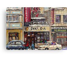 Peel Pub And Cafe Republique Rue Peel Montreal Winter Street Scene Paintings  Metal Print