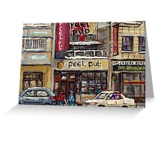 Peel Pub And Cafe Republique Rue Peel Montreal Winter Street Scene Paintings  Greeting Card