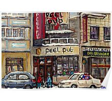 Peel Pub And Cafe Republique Rue Peel Montreal Winter Street Scene Paintings  Poster