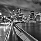 Sydney at night B&W by John Vandeven