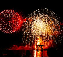 Fireworks over Miyajima, Hiroshima by Harlequitmix