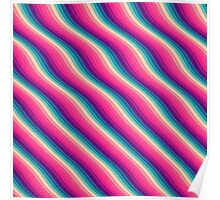 Abstract Color Burn Pattern - Geometric Lines / Optical Illusion in Rainbow Acid Colors Poster