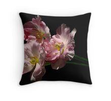 three tulips bid adieu Throw Pillow