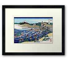 'Fuji From Kanaya on Tokaido' by Katsushika Hokusai (Reproduction) Framed Print