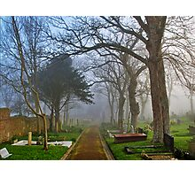 Foggy Path Through the Churchyard Photographic Print