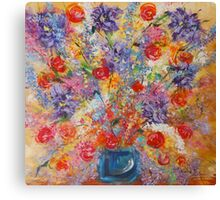 Floral Explosion, abstract flower still life, bold exciting colors Canvas Print
