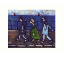 3 people and a dog on a promenade.... or the disappearing dog Art Print