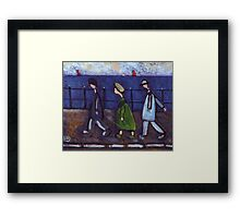 3 people and a dog on a promenade.... or the disappearing dog Framed Print