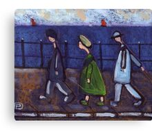 3 people and a dog on a promenade.... or the disappearing dog Canvas Print