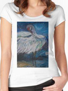 Preening Crane  Women's Fitted Scoop T-Shirt