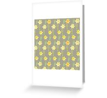 Yellow Watercolour Stemmed Daffodil Pattern on Khaki  Greeting Card