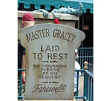 Master Gracey's Tomb - Haunted Mansion, Magic Kingdom Photographic Print