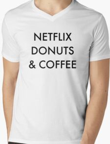 Netflix Donuts & Coffee Mens V-Neck T-Shirt