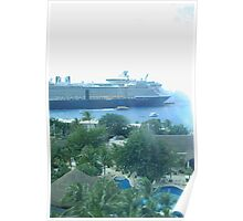 Looking Down at Cruise Ships Poster
