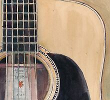 Martin Acoustic Guitar SSC-D35-14 - from Canada - Watercolor Art Print  by Dorrie  Rifkin