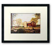 Barn Landscape Painting Framed Print