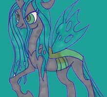 Notecard Ponies: #10 Queen Chrysalis by nictheprincess