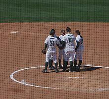 Team Meeting Before the Start on the Inning by Buckwhite