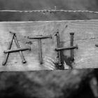 Sign post made from nails by Mishimoto
