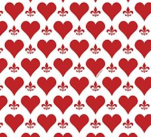 Red Hearts and Fleur de Lis Pattern by StudioBlack