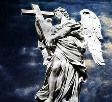 Angel with The Cross - Pont Sant'Angelo - Rome by Beth A