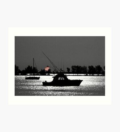 Fishing boat flying flag Art Print