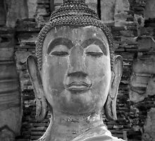 Ayutthaya Buddha B&W by Kyra  Webb