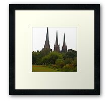 St Patricks Cathedral, view from Parliament House Gardens Melbourne Framed Print