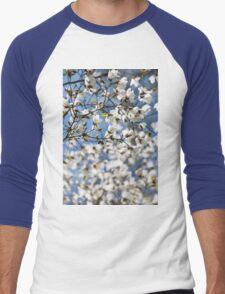 White fresh Magnolia spring bloom Men's Baseball ¾ T-Shirt